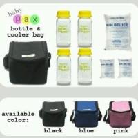 Baby Pax - Cooler Bag Set Black (Tas Penyimpan ASI + 4 Botol Kaca ASI