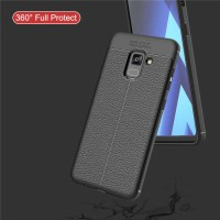 LEATHER CASE SAMSUNG GALAXY A8 / A8 PLUS 2018 SOFT COVER BACK CASING