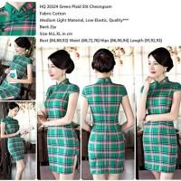 20324 Green Plaid Slit Cheongsam Dress / Dress Cheongsam Hijau Mini