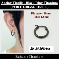 Anting-Anting Tindik Cowok Pria - Black Ring Titanium
