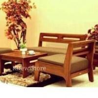 kursi tamu, sofa + meja kopi kayu jati minimalis modern