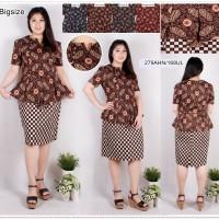 Dress Batik Jumbo Dress Baju Terusan Wanita Bigsize Kantor 168UL