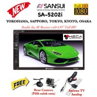 SANSUI SA-5202i FULL HD SA5202i Head Unit Tape TV Double din + Camera