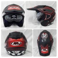 Helm ARL Semi Cross Half Face Double Visor Goto MotoGP Hitam D Murah