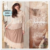 Long Dress Layer Midi Mori Jepang Baju Kawaii Lace Brukat Korea Import