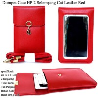 Dompet Murah Case Hp 2 Cat Selempang Kulit red