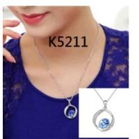 Kalung dan Liontin Zircon Biru Muda (anting gelang cincin xuping emas)