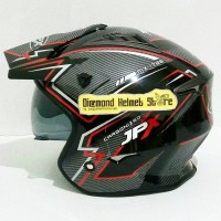 Helm JPX MX 726 motif Carbon Black Open Face Trials Mirip Airoh Trr S