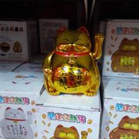Patung kucing hoki gold gendut 10 cm