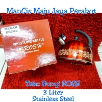 Teko bunyi ROSH Merah Decal 3Ltr Stainless Steel/Ceret /Teko masak air