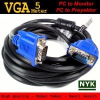 kabel vga 5m bagus tebal / Cable male To male 5 meter original jernih