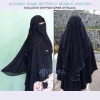 Alsyahra Niqab Butterfly Wrinkle Bisban Chiffon Super Jetblack