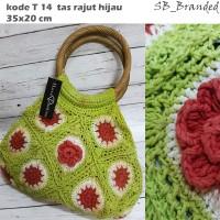 tas rajut hand bag unik handmade hijau new sisa stock