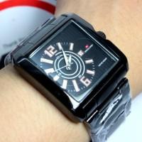 Jam tangan Swiss Army SA kotak segi empat persegi rantai stainless