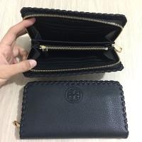 Dompet Tory Burch original - Tb marion multi gusset zip wallet black