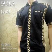 SERAGAM BATIK   Black Monochrome   Kemeja Batik Pria Kombinasi EX-058