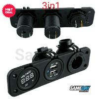 DIY 3in1 Car Charger Voltmeter Cigarette Lighter Dual USB DC 12V-2.1