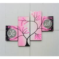 lukisan minimalis panel dot aborigin bunga sakura pink kaligrafi