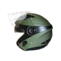 Helm Zeus ZS 610 matte army green - hijau Half Face dual Visor Murah