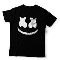 Promo kaos DJ Marshmello Face 1 Hitam t shirt marshmallow Marshmellow