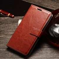 LEATHER FLIP COVER WALLET Alcatel One Touch Flash 2 case kulit dompet