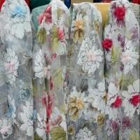 kain organza 3d/organza motif/organdi!!!bahan dress, gaun, gamis