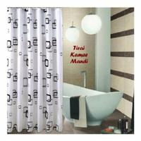 Tirai Kamar Mandi Motif Kotak Kotak/ Curtain Shower Minimalis/ Tirai