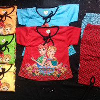 baju setelan anak perempuan size 3 sd 4 tahun gambar frozen