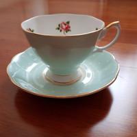 royal albert cup n saucer polka rose green