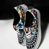 QSP VANS AUTHENTIC MOTIF SPIDERMAN sepatu sneakers casual pria