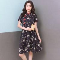 DRESS FLOWER CHEONGSAM SATIN SILK