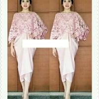 Dress (M - Fit L) MANGLY PINK + OUTER - Satin Brokat
