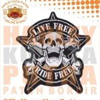 Jaket Jeans Sweater Hoodie Zipper Patch Bordir Harley Davidson