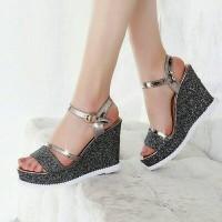 Harga sepatu sandal wedges wedges pesta glamour gelang glitter js02 | Hargalu.com