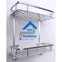 rak persegi 2 susun aluminium / tempat sabun rak bumbu dapur 2 tingkat