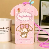 CASING CASE HP OPPO F3 A77 3D MY MELODY BOW NECK STRAP PHONE