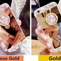CASING CASE HP OPPO NEO 7 A1603 DIAMOND CRYSTAL SOFT MIRROR + RING