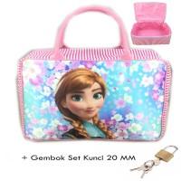Sale Tas Travel Kanvas JUMBO Frozen Anna Sakura Set Gembok Kunci