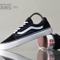 sepatu sneakers pria vans old skool black and blue list white