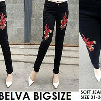 Celana Jeans Wanita Belva Flower Patch Bordir Big Size Skinny Black