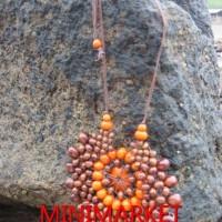 Harga kalung etnik kayu kopi model bunga matahari coklat 1 by mm | Pembandingharga.com