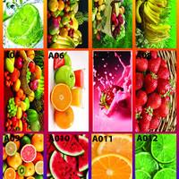stiker kulkas 1 pintu buah