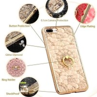 CASING HP SARUNG VIVO Y55 Y55S LOVE BLING CRYSTAL FLOWER LIST DIAMOND