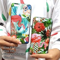CASING HP SARUNG FLAMINGO FLOWER VIVO V5 V5S LITE V7 PLUS HARD SILIKON