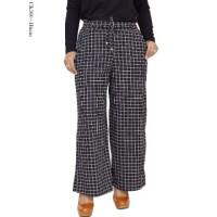 Celana Kulot Kotak-kotak Bahan Waffle / Celana Panjang Wanita