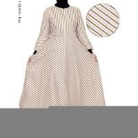 Baju Gamis Muslim Wanita Bahan Katun Jepang Motif Salur
