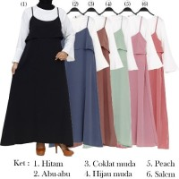 Gamis Overall Remaja 2in1 Bahan Wolfis