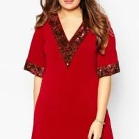 DRESS BAJU WANITA Dress Big Size Jumbo XXXXXXL Kode: 1019 Red