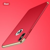 Casing HP Iphone X 10  3in1 Protect Case Electro Plating Red Merah
