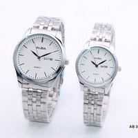 Jam Tangan Couple / Pasangan Alba Stainless Rantai Full Silver